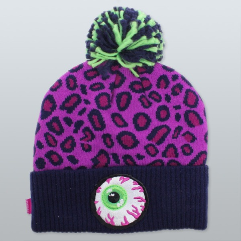 Mishka-Keep-Watch-Safari-Pom-Knit-Beanie-Magenta-1